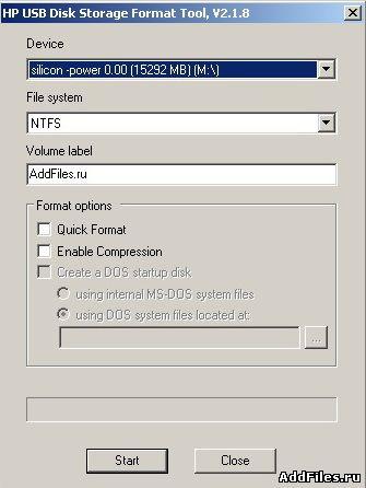 Програмку для форматирования hp usb disk storage format tool